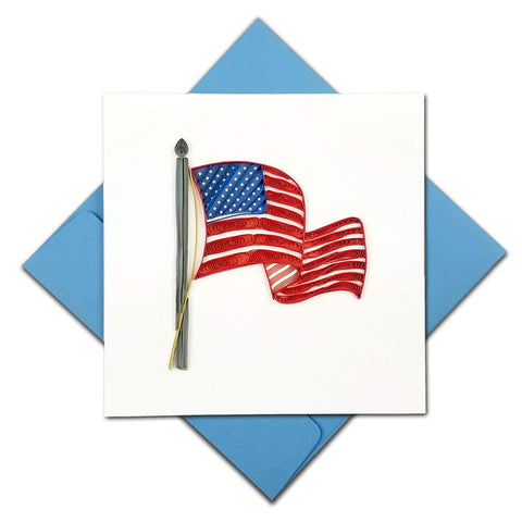 American Flag Greeting Card by Quilling Card with Blue Envelope Behind