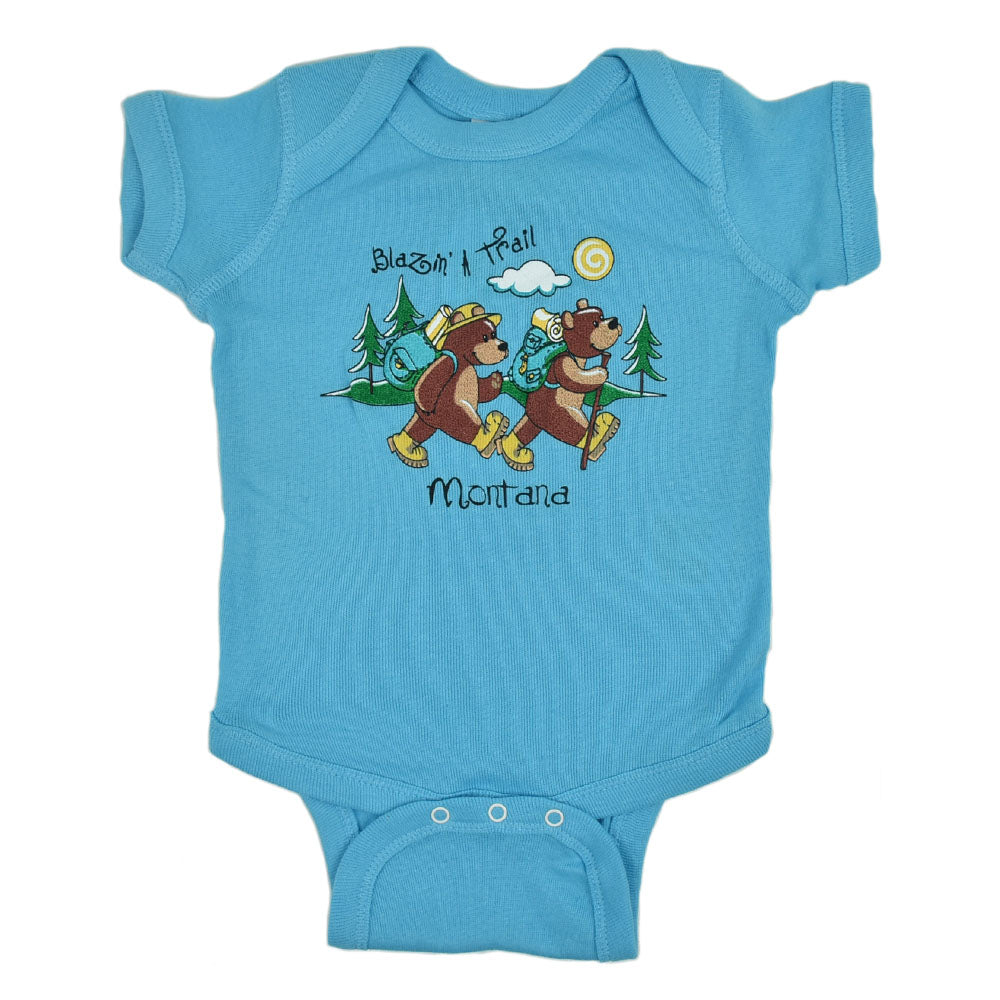 Aqua Blazin' A Trail Bear Onesie by Prairie Mountain