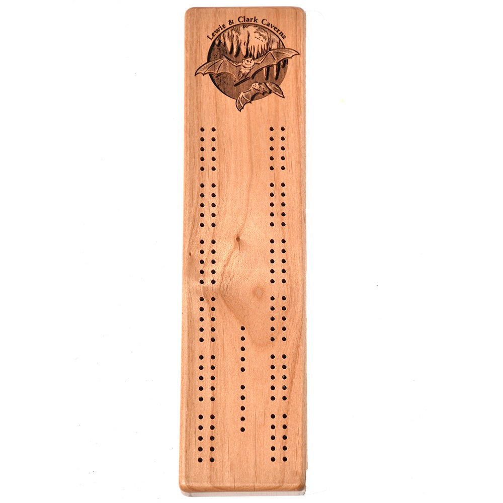 Lewis and Clark Caverns State Park Bats Cribbage Board by Wayne Carver Woodcarving at Montana Gift Corral