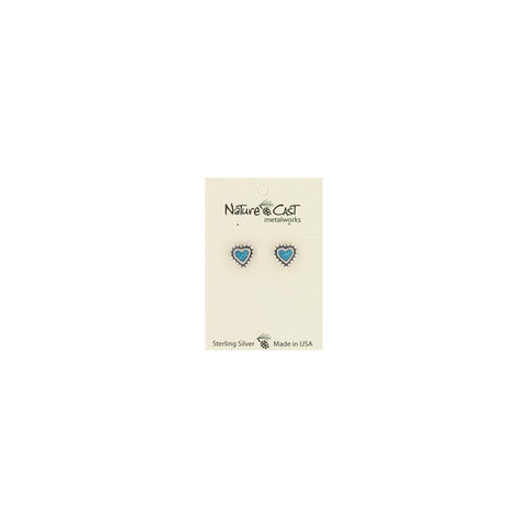 Beaded Heart with Inlay Post Earrings