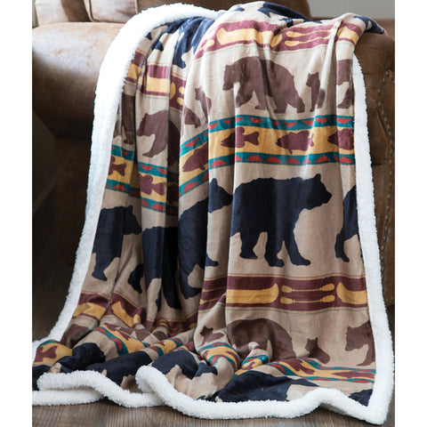 Bear Family Sherpa Throw Blanket by Carstens