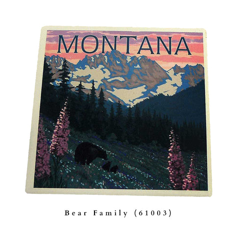 Bear Family with Spring Flowers Montana Coaster by Lantern Press