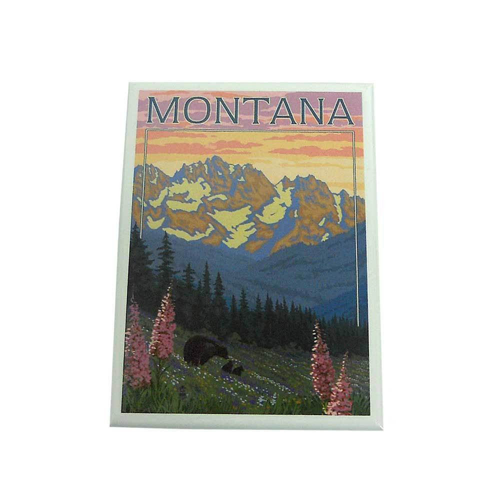 Bear Family and Spring Flowers Montana Magnet