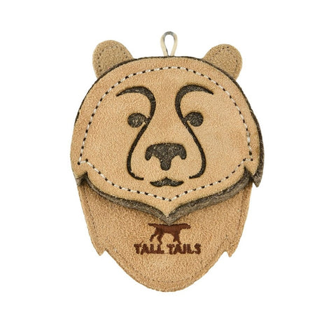 "4"" Bear Natural Leather & Wool Toy by Tall Tails"