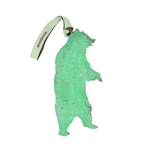Bear Standing Stainless Steel Hammered Green Ornament by Art Studio Company