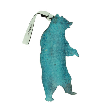 This Large Standing Bear Stainless Steel Hammered Blue Ornament by Art Studio Company is a great indoor or outdoor decoration.