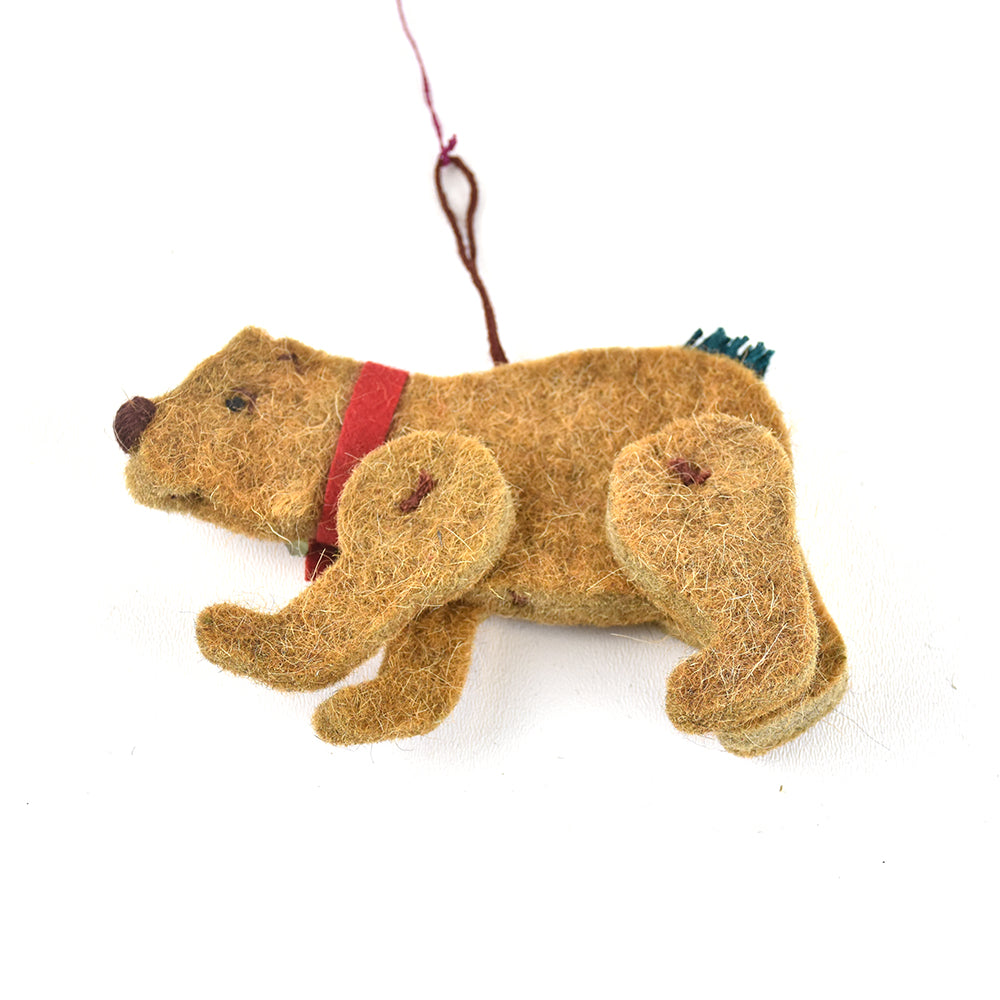 Bear with Christmas Lights Wool Montana Christmas Ornament by Art Studio Company at Montana Gift Corral