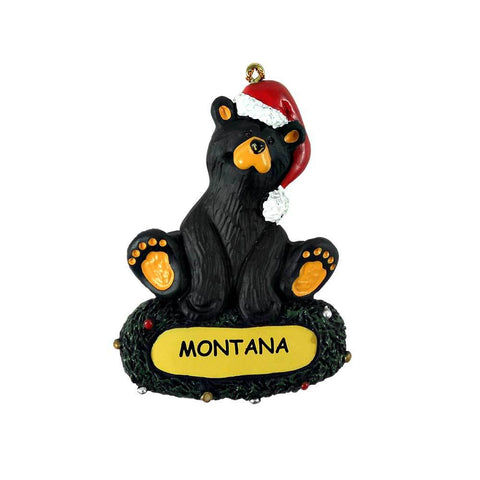 Bear in Santa Hat Bearfoots Montana Ornament by Jeff Fleming