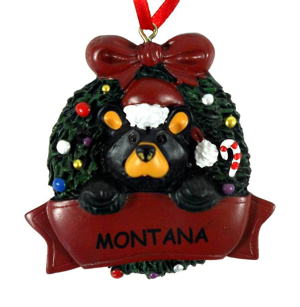 Bear with Montana Wreath Bearfoots Ornament by Jeff Fleming
