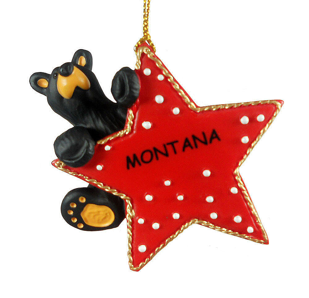 Bearfoots Climb on Star Montana Ornament by Big Sky Carvers