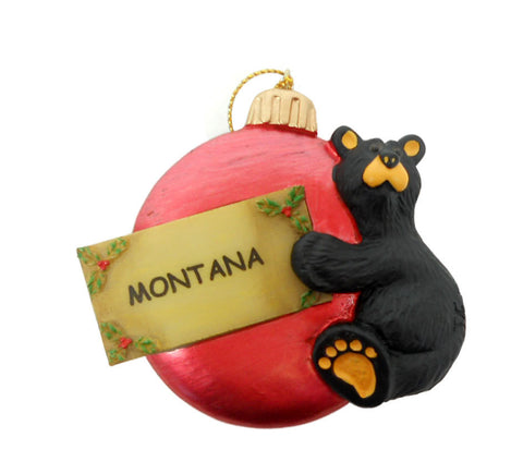 Bearfoots Cub on Ball Montana Ornament by Big Sky Carvers