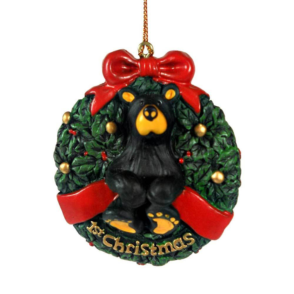 Bearfoots First Christmas Bear Ornament by Big Sky Carvers