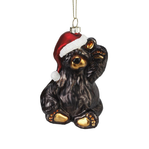 Bearfoots Friendly Santa Bear Glass Ornament by Jeff Fleming from Big Sky Carvers at Montana Gift Corral