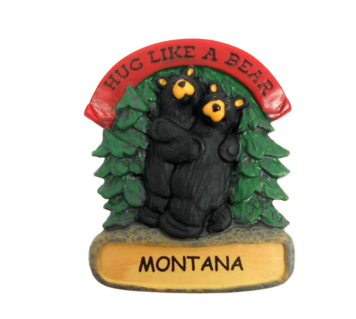 Bearfoots Hug Like a Bear Montana Magnet by Big Sky Carvers