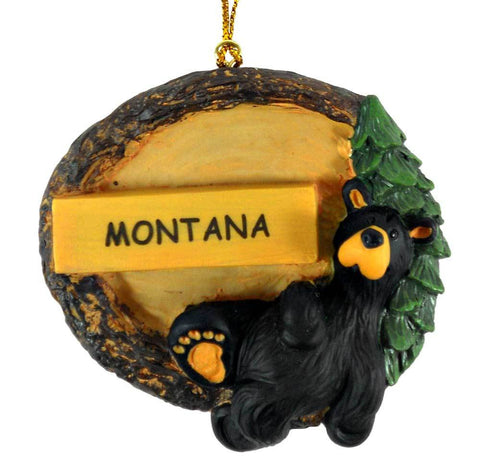 Bearfoots Relaxed Bear Montana Ornament by Big Sky Carvers