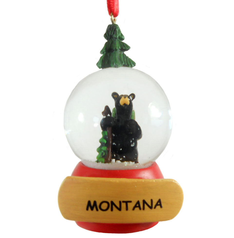 Bearfoots Wandering Bear Snow Globe Montana Ornament by Big Sky Carvers