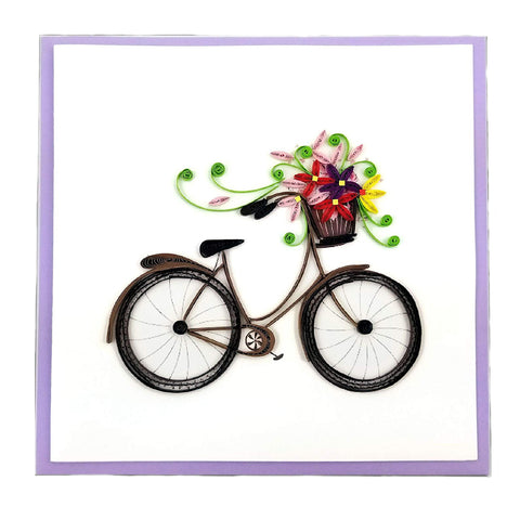 Bicycle with Flower Basket Greeting Card by Quilling Card