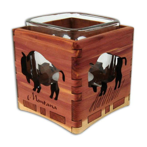 Montana Bison Cedar Candleholder by Wood You Tell Me