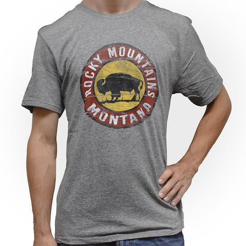 Rocky Mountains Ground War Buffalo Montana T-Shirt by Lakeshirts and Blue 84