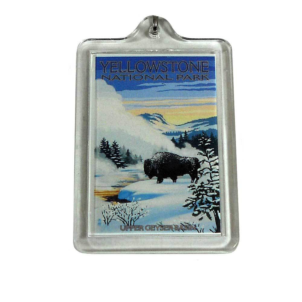 Bison Snow Scene Yellowstone National Park Keychain
