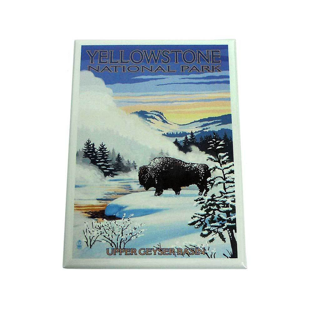 Bison Snow Scene Yellowstone National Park Magnet