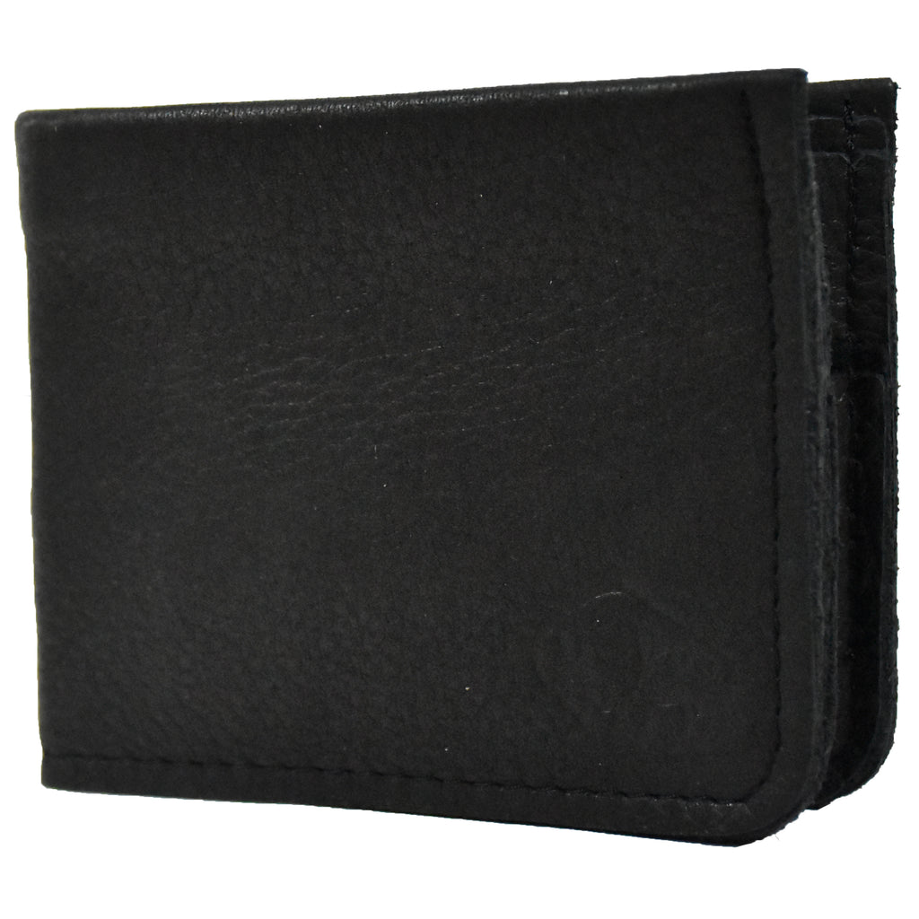 Black 4 Pocket Bifold Buffalo Hide Wallet with Coin Pocket by The Leather Store