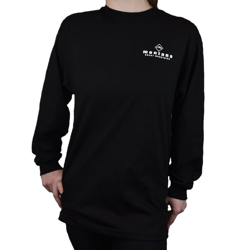 Black Ancient Mountain Skier Long Sleeve Shirt by Prairie Mountain Front