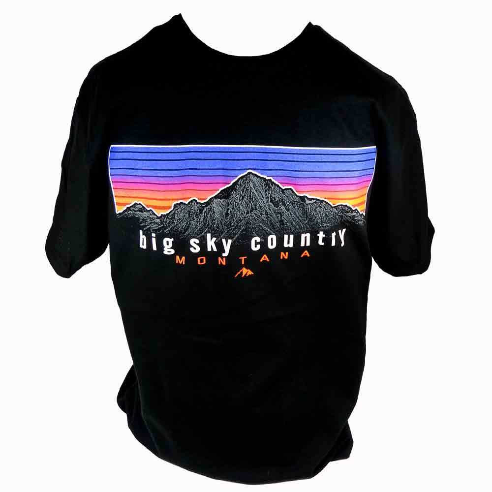 Black Horizontal Stripe Mountain Montana T-Shirt