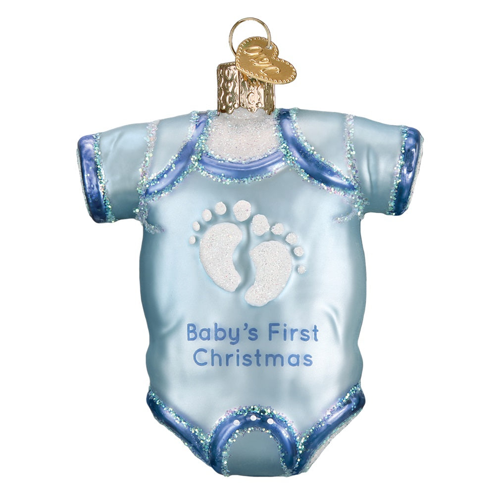 Blue Baby's First Christmas Onesie Christmas Ornament by Old World Christmas
