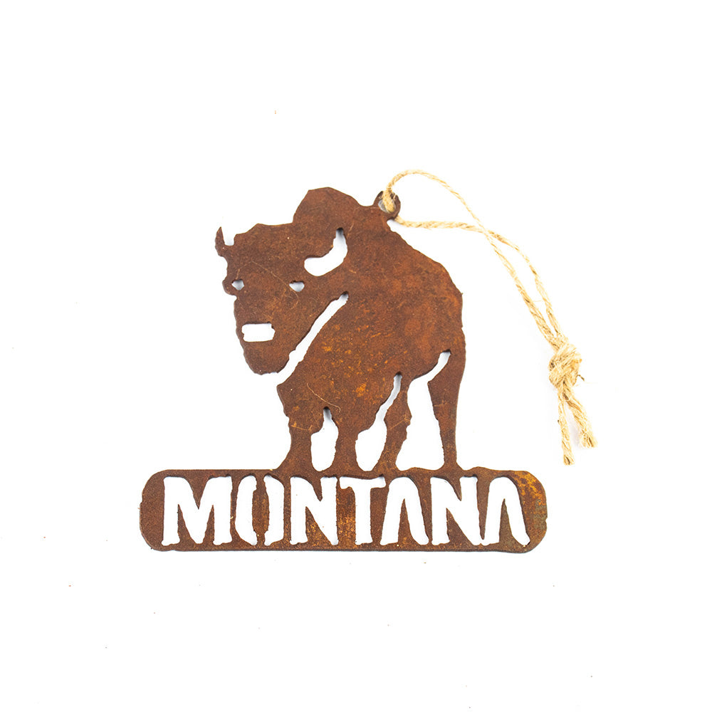 They are truly a sight to behold with their massive size and imposing aura. Now you can bring back the rustic nature of Montana home with you with the Buffalo Silhouette Rustic Metal Montana Ornament by Recherche Furnishings.