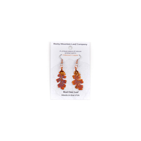Iridescent Copper Oak Wire Earrings by Rocky Mountain Leaf Company