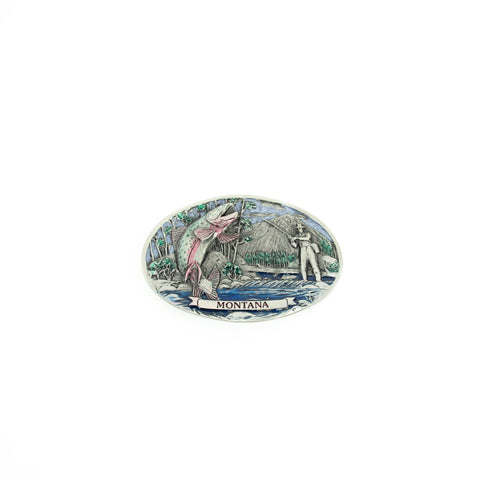 Montana Fisherman Painted Belt Buckle by Colorado Silver Star