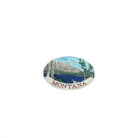 Painted Montana Scene Belt Buckle by Colorado Silver Star
