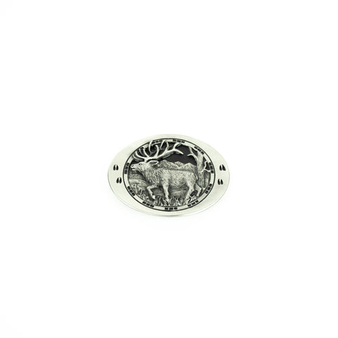 Elk with Footprints Pewter Cast Belt Buckle