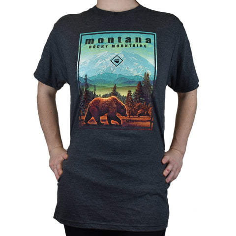 Charcoal Heather Ancient Mountain Grizzly T-Shirt by Prairie Mountain