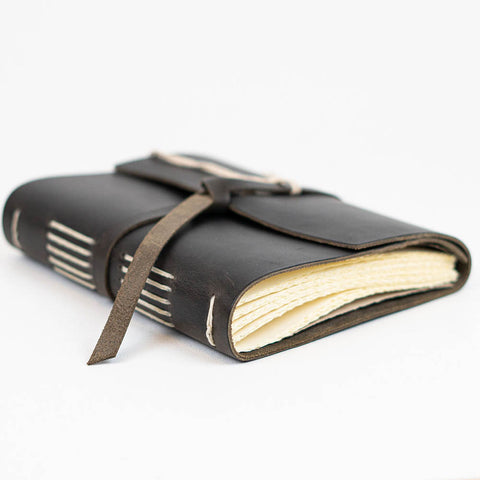 Charcoal Wrap Traveler Leather Journal by Rustico