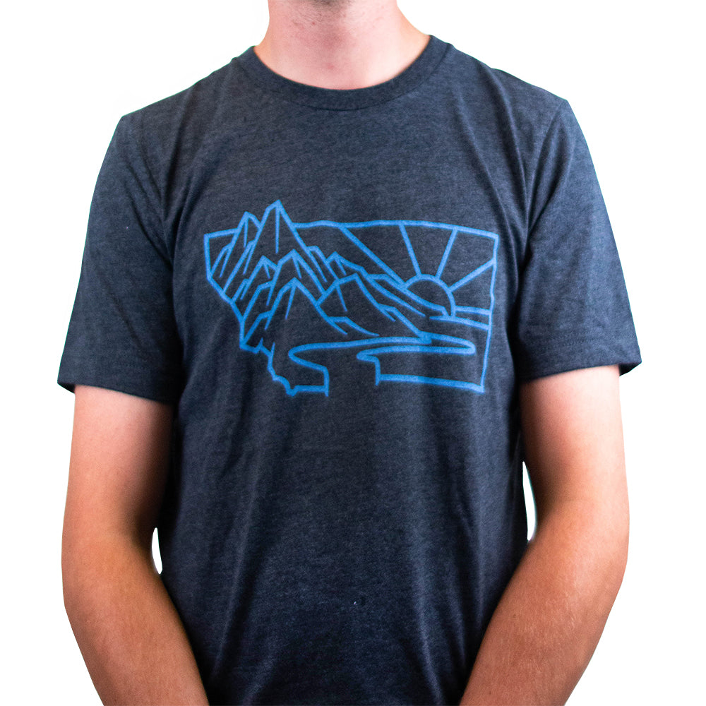 Charcoal and Light Blue Heritage Montana T-Shirt
