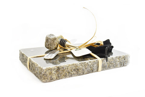 Recycled Granite Cheeseboard with Wine Stopper by Stonetek at Montana Gift Corral