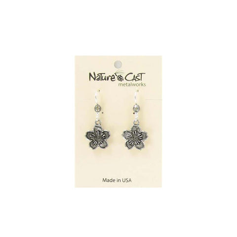 Cherry Blossom Dangle Earrings by Nature Cast Metalworks