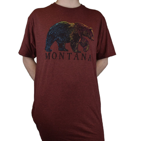 Chili Heather Frantic Grizzly Montana T-Shirt by Prairie Mountain Maroon Montana T-Shirt with a Realistic yet Stylized T-Shirt