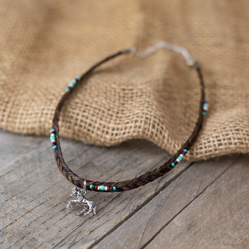 Beaded Horse Hair Choker Necklace