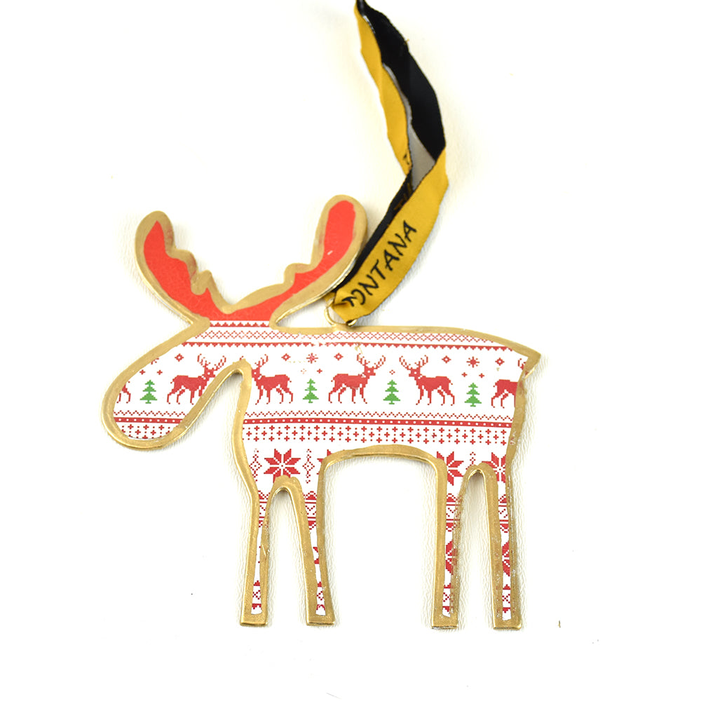 Moose Assorted Pattern Metal Christmas Ornament by Art ...