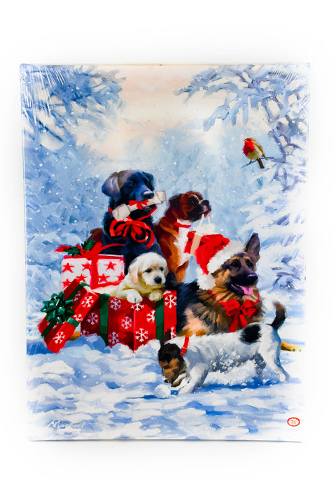 "Christmas Dogs LED 24"" Print by Oak Street Wholesale"