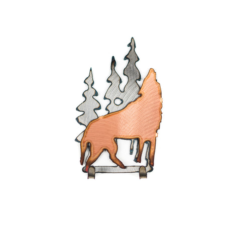 Copper Wolf In Forest Magnet Keyhook by H&K Studios