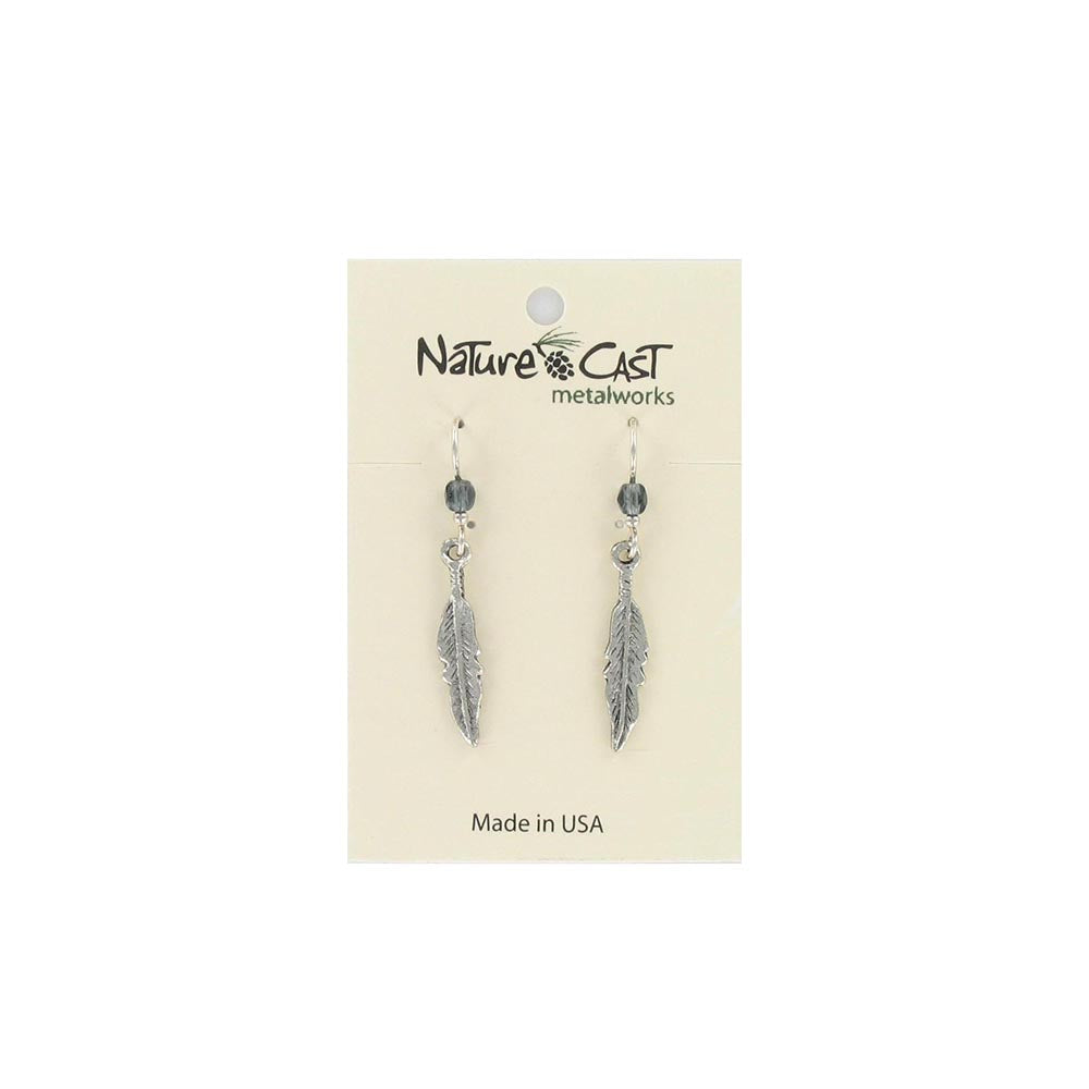 Curved Feather Dangle Earrings by Nature Cast Metalworks