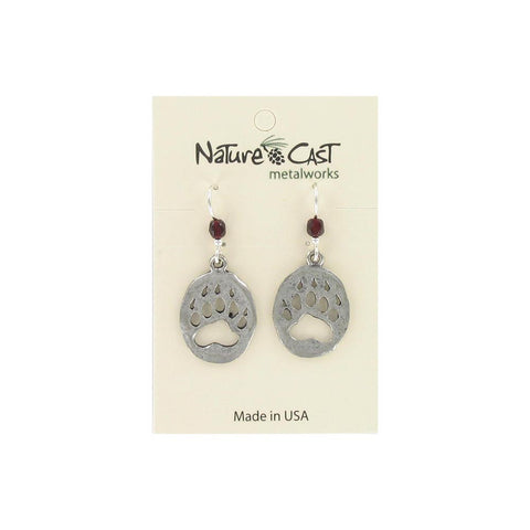 Cutout Bear Paw Dangle Earrings by Nature Cast Metalworks