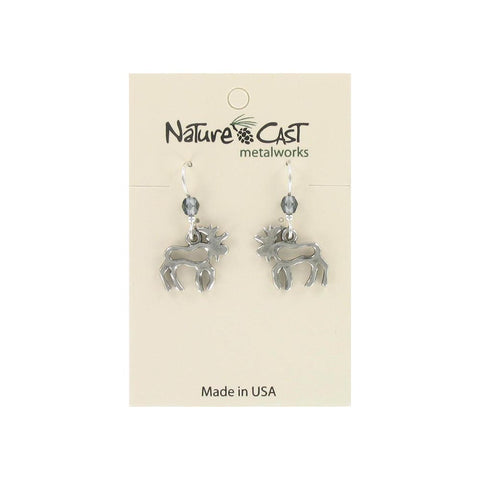 Dangle Cutout Moose Earrings by Nature Cast Metalworks