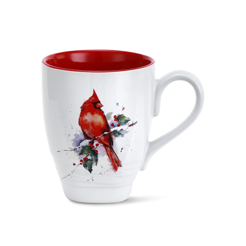 Dean Crouser Cardinal and Holly Holiday Mug