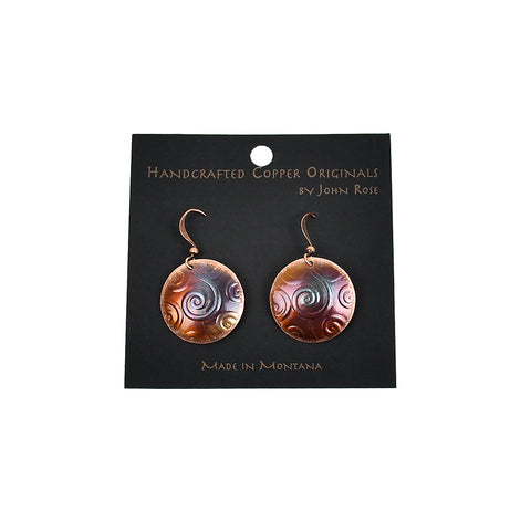 Double Drop Circle with Swirls Earrings