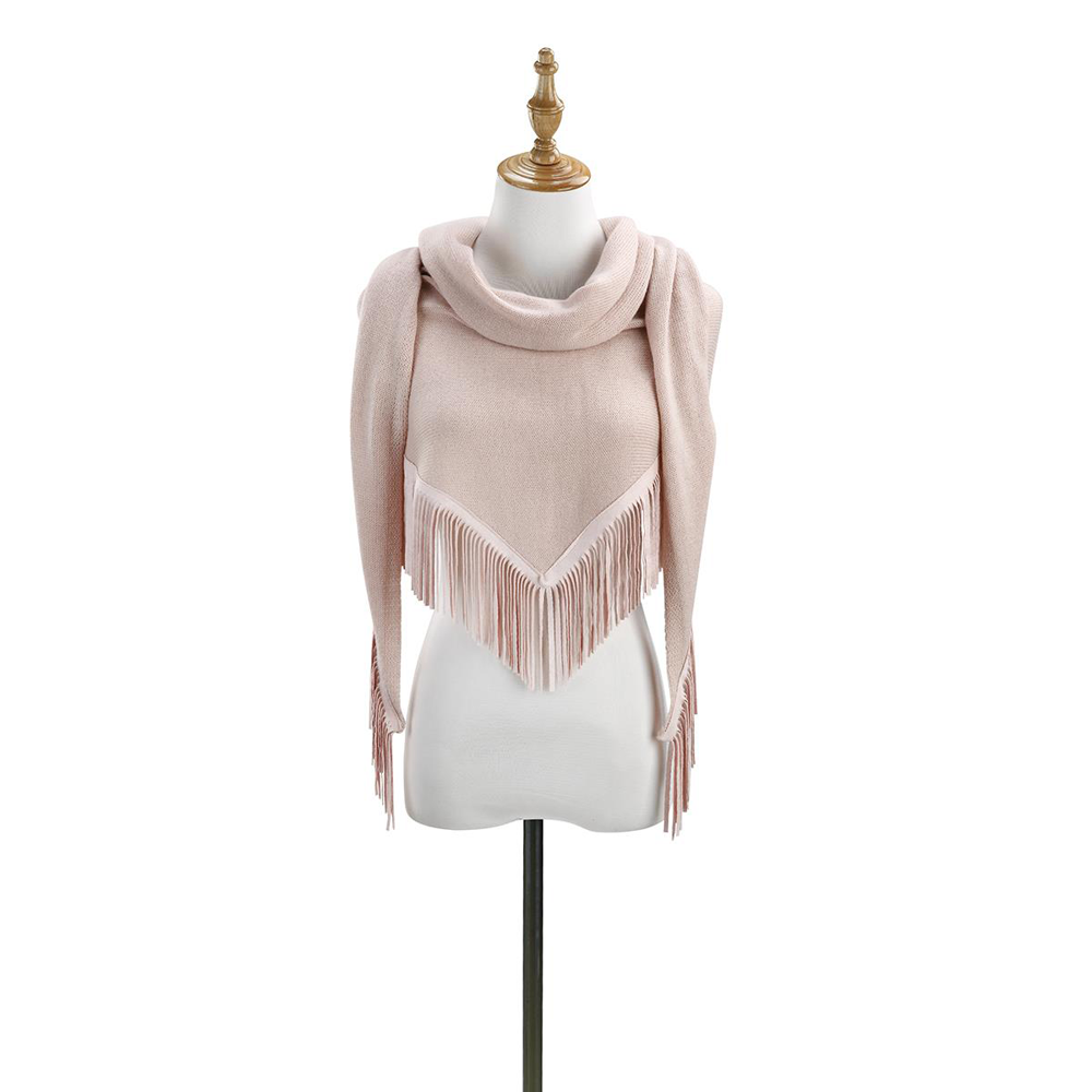 Knit Triangle Scarf with Fringe by Demdaco (dusty pink)
